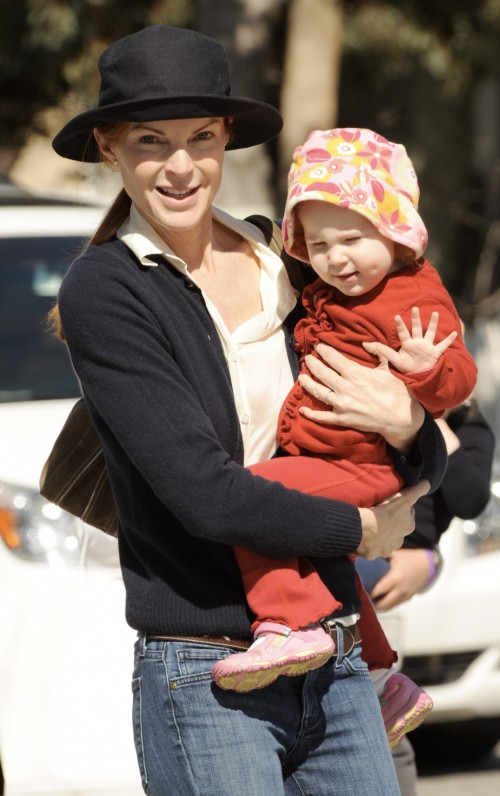 Marcia Cross with her twin daughters Eden and Savannah in Santa Monica, Ca