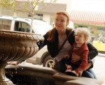 Desperate Housewives star Marcia Cross has a quiet moment with one of her twin daughters in Santa Monica, Ca