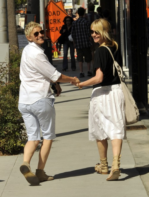 Ellen Degeneres and her wife Portia de Rossi looking every bit the happy couple as they head to Phillipes Watches in Beverly Hills, Ca