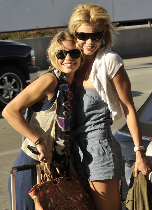 AnnaLynne McCord and her sister Angel at LAX Airport in Los Angeles, Ca