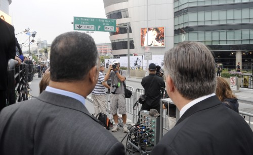 The media and fans prepare to pay their respects at the Michael Jackson Memorial at the Staples Center in Los Angeles, Ca
