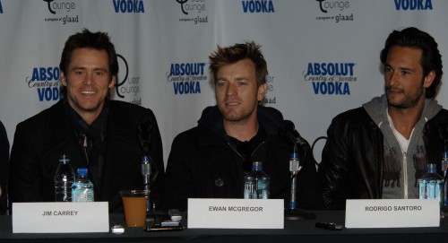 "Jim Carrey and Ewan McGregor at a press conference for ""I Love You Phillip Morris"" where they play lovers"