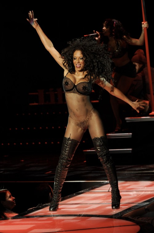 "Mel B of the Spice Girls performs ""The Peep Show"" Burlesque revue at the Planet Hollywood Hotel and Casino in Las Vegas, Nv"