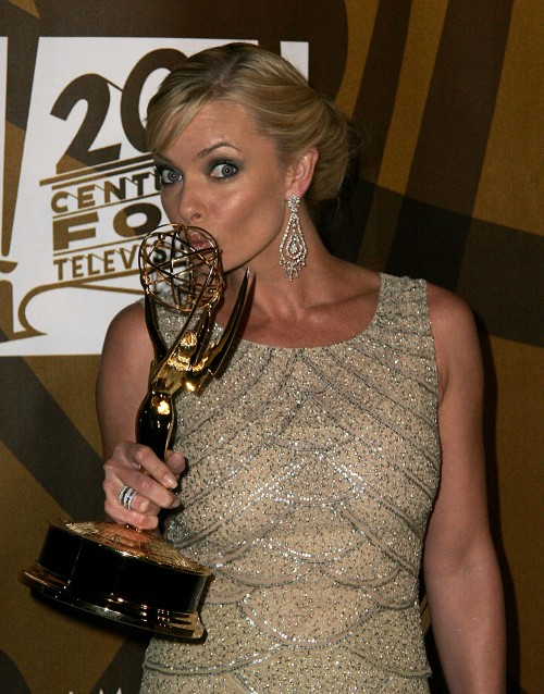 Actress Jaime Pressly backstage in the pressrom after winning her Emmy for her role on My Name Is Earl