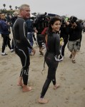 Desperate Housewives star Teri Hatcher takes part in the Nautica Malibu Triathlon in Malibu, Ca